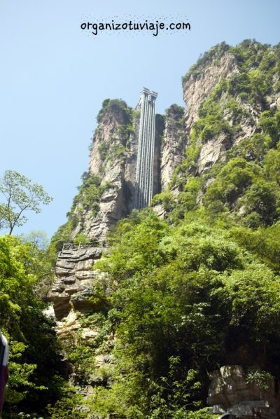 Ascensor Bailong o de los Cien Dragones. Parque Zhangjiajie en China